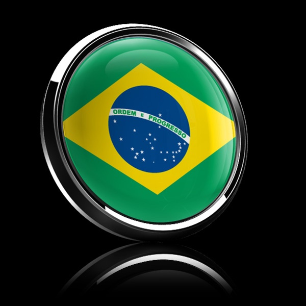 Magnetic Car Grille Dome Badge Flag Brazil