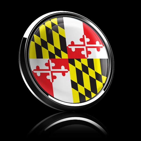 Magnetic Car Grille Dome Badge Flag Maryland