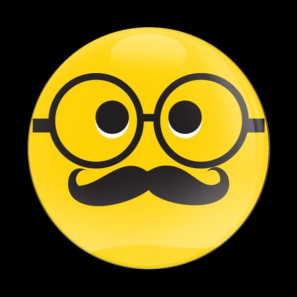 Dome Badge Emoji Mustache Glasses
