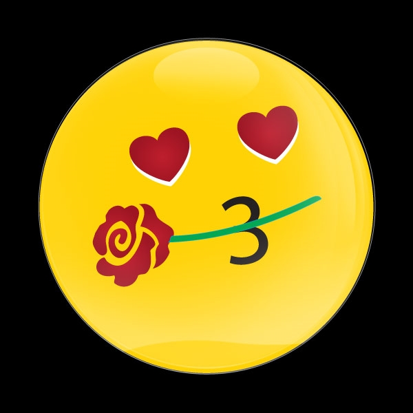 Dome Badge Emoji Kissing Heart With Flower