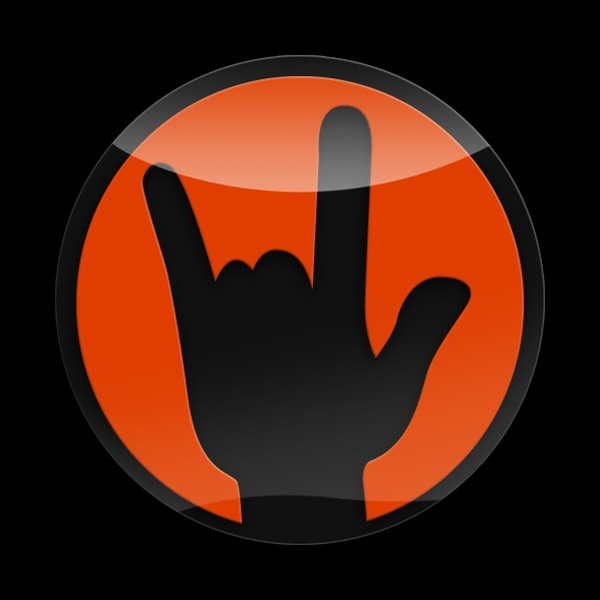 3d Acrylic Magnetic Badge Rock On Orange