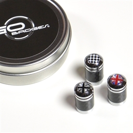 Mini Cooper Universal Carbon Fiber Black Valve Stem Caps