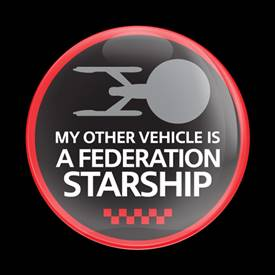 Magnetic Car Grille Dome Badge - A Starship