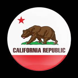 Magnetic Car Grille Dome Badge-Flag California