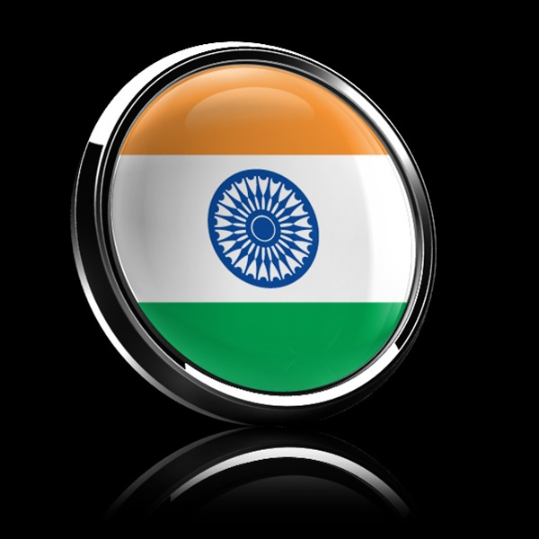Magnetic Car Grille Dome Badge Flag India