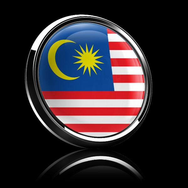 Magnetic Car Grille Dome Badge Flag Malaysia