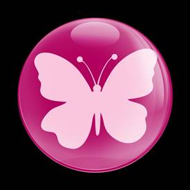 Magnetic Car Grille Dome Badge-Butterfly Pink