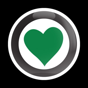 Magnetic Car Grille Dome Badge-Girl Heart 102 Green