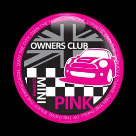 Magnetic Car Grille Dome Badge-MINI Owners Club Pink