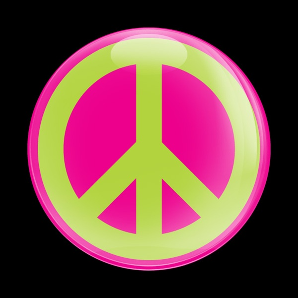 Dome Badge Sign Peace Pink