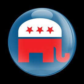 Magnetic Car Grille Dome Badge-Republican