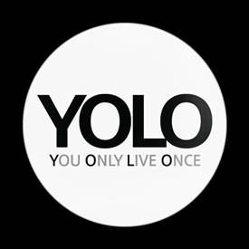 Magnetic Car Grille Dome Badge-Sign Yolo White