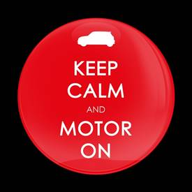 Magnetic Car Grille Dome Badge-Keep Calm and Motor On Red