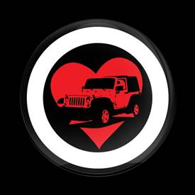 Magnetic Car Grille Dome Badge-I Heart JEEP 01