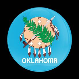 Magnetic Car Grille Dome Badge-Flag Oklahoma US State