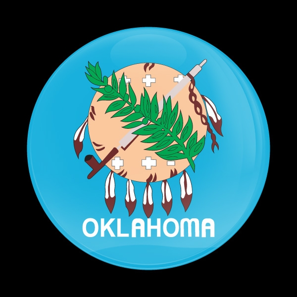Dome Badge Flag Oklahoma Us State