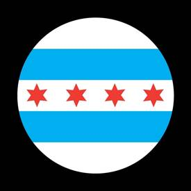 Magnetic Car Grille Dome Badge-Flag Chicago 2
