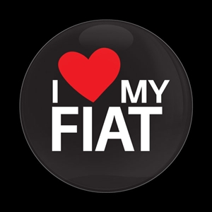 Magnetic Car Grille Dome Badge-I Love My FIAT Black