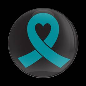 Magnetic Car Grille Dome Badge-Teal Ribbon Black