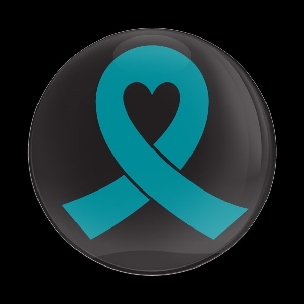 Dome Badge Teal Ribbon Black