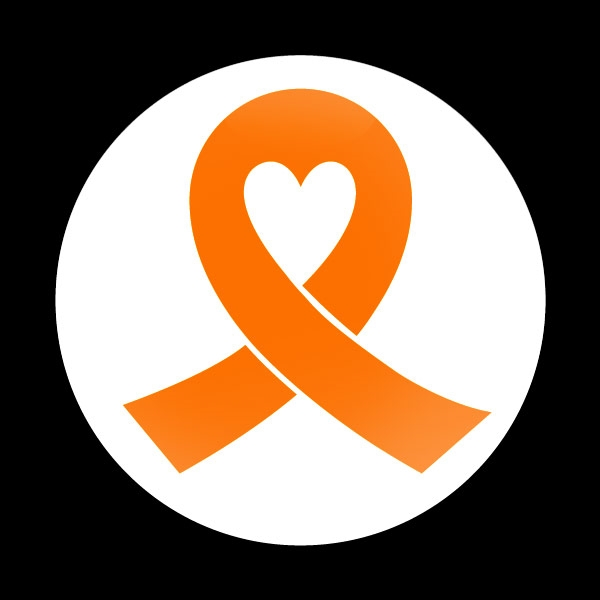 Dome Badge Orange Ribbon White