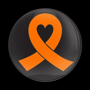 Magnetic Car Grille Dome Badge-Orange Ribbon Black