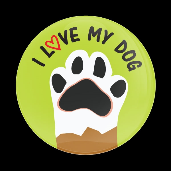 Dome Badge I Love My Dog