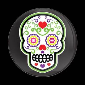 Magnetic Car Grille Dome Badge-Seasonal Green Calavera Sugar Skull