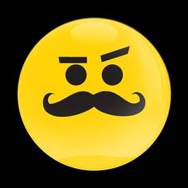 Magnetic Car Grille Dome Badge-Emoji Mustache Smirking