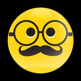 Magnetic Car Grille Dome Badge-Emoji Mustache Glasses