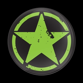 Magnetic Car Grille Dome Badge-DISTRESSED STAR NEON GREEN