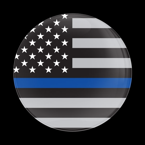 Magnetic Car Grille Dome Badge-THIN BLUE LINE FLAG US