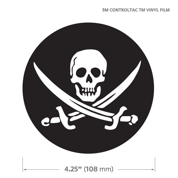 GoBadges GG0032 Round Jolly Roger Decal Sticker