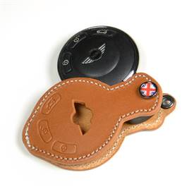 PREMIUM LEATHER MINI KEY FOB (DARK TAN+UNIONJACK)