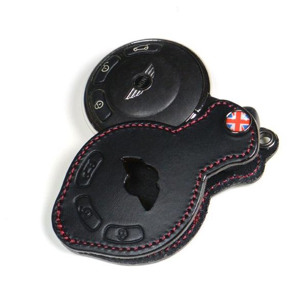 Premium Leather Mini Key Fob Black Unionjack