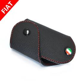 FIAT 500 Key Fob Black with red stitch