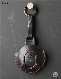 Premium Leather Keyfob for MINI F Series - Black with Red Stitch