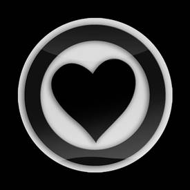 Magnetic Car Grille 3D Acrylic Badge-Heart Black
